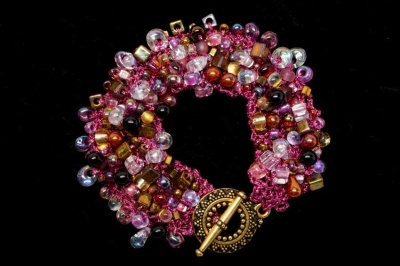 Bead Soup Bracelet/ Roses and Golds -
