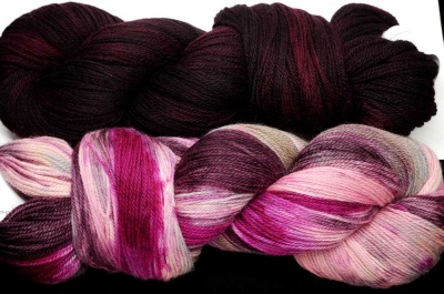 Kit B again.  These yarns were hard to photograph properly.  Here is another try at showing you the amazing richness.