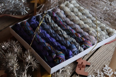 Koigu Pencil Box:  Snow Queen in Sparkle! - Fingering/Sock weight