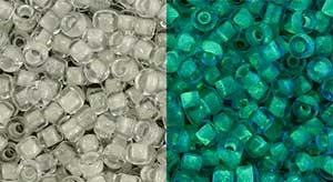 Glow-in-the-Dark: Gray Crystal/ Bight Green:Toho 8/0 Seed Beads -