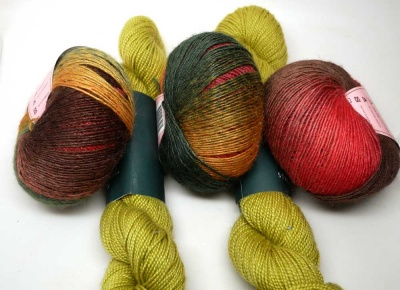 Kit C will include one skein each of Thanksgiving and Apple.