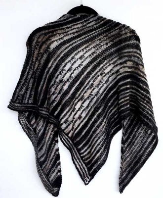 The Triangle Shawl as knit in the Black Kit.