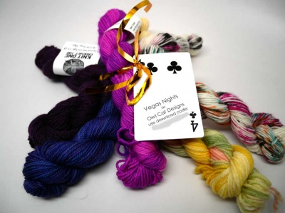 The bundle of yarns, which comes with a special download code for the pattern.