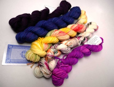 The same Vegas yarn bundle, untied so you can see the skeins better.  Yum!