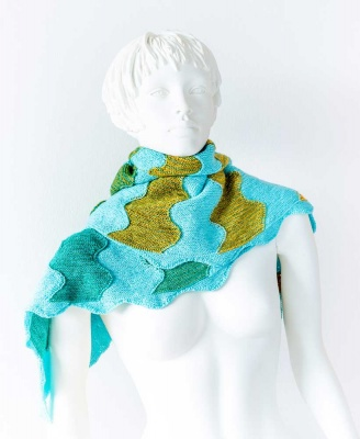 The original shawl by Chris of Ursa Major Knits, in Mermaid + Turquoise.