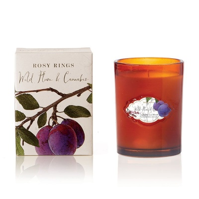 Rosy Rings: Signature Glass Candle: Wild Plum & Cannabis