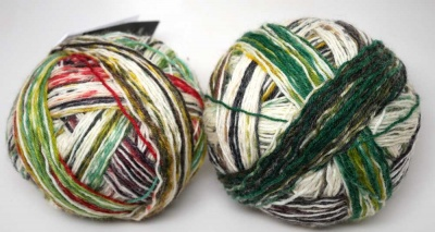 Wunsch Kleckse (both of these balls are the same colorway, just somewhat different sections)