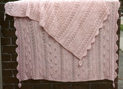 Twining Vine Strip-Knitted Afghan/ pattern - Whimseys