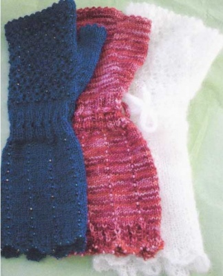 Beaded Lace Fingerless Mittens/ Pattern -
