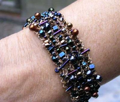 Bead Soup Bracelet in Dark Metallics - Jewelry Creations