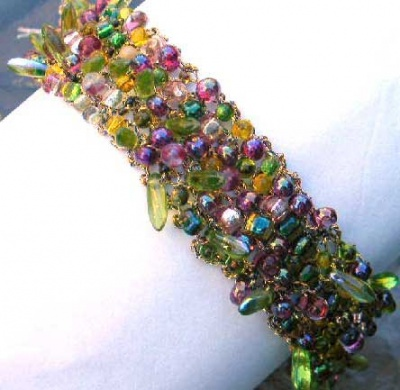 Bead Soup Bracelet/ Wine and Olives - Jewelry Creations