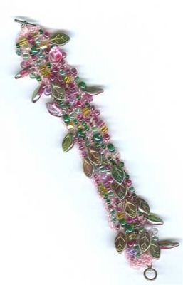 Bead Soup Bracelet/ Pinks and Greens -