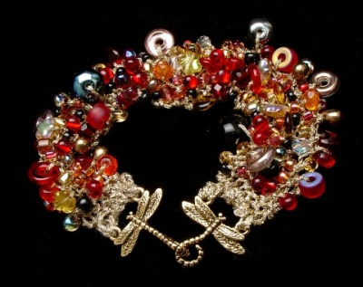 Bead Stew Bracelet/ Fire Walk With Me - Jewelry Creations