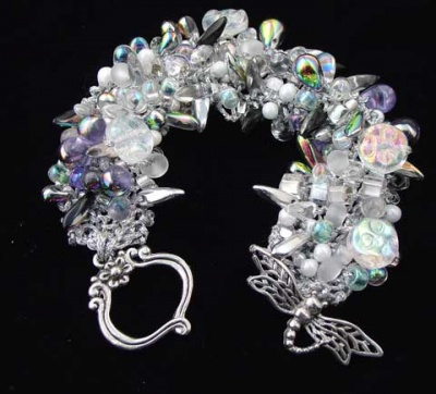 Bead Stew Bracelet/  Moon Flowers - Jewelry Creations