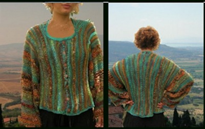 Blue Sky Over Sienna Jacket/Cardigan pattern by Jane Thornley -