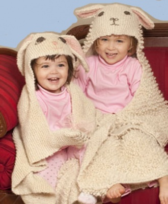 The Little Bunny & The Lamb Hoodie Towels/Blankets/Noni Pattern - Whimseys