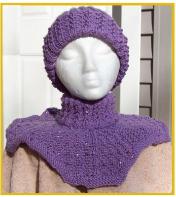 Beaded Neck Cozy & Beaded Ribbed Hat/ by Catie/ Pattern - Scarves and Cowls
