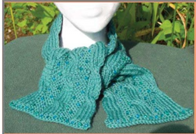 Clever Cables - Reversible Beaded Scarf/ Pattern by Catie - Scarves and Cowls