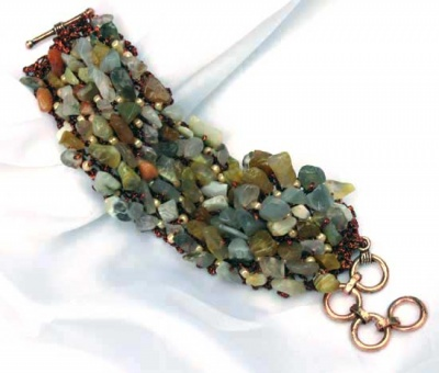 River Bed Bracelet/ Semi-Precious Multi-Colored Chips - Jewelry Creations