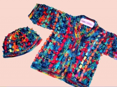 Technicolor Dream Sweater Set/ Crochet pattern by Ellene Warren -