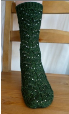 Emerald Forest Sock/ Pattern by Sivia/ Bead Option -
