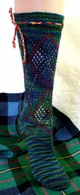 Beaded Faux Argyle Socks/ Pattern by Jackie E-S -
