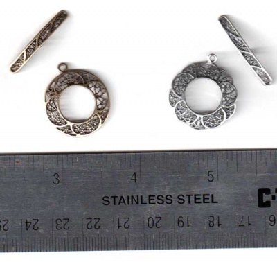 Filigree Round Toggle Clasp Sets/ Antique Silver or Antique Bras - Wonderful Extras