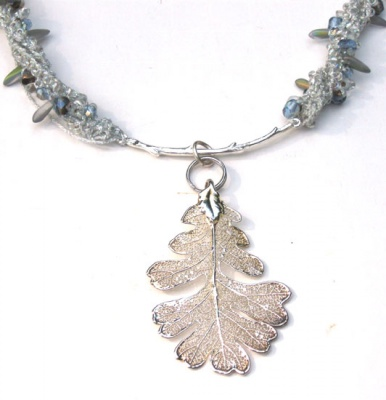 Frosted Leaf Necklace/ Oak Leaf - Jewelry Creations