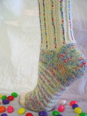 Mixed Jelly Beans Socks/ Pattern by Jackie E-S -