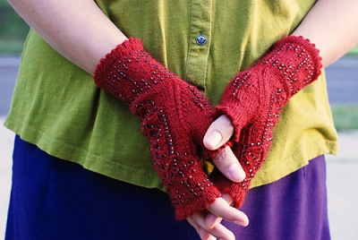 The next few photos show Stephannie's original mitts, in both styles, this one being the one called simply Josephine Mitts.