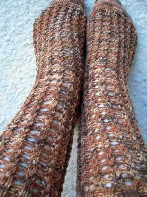 Kicking Leaves/ Sock Pattern from Fiber Dreams -