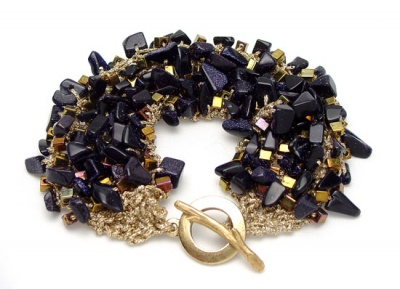 River Bed Bracelet/ Blue Goldstone - Jewelry Creations