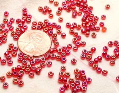 Silver Lined Flame Red AB: Miyuki 6/0 Seed Beads - Size 6/0