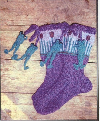 Cattails and Frogs/ Socks by Barbara Telford - Socks