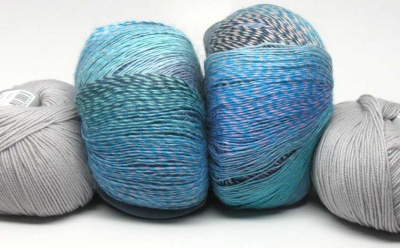 Your kit will include one skein of Soundwave and 3 balls of Silver.