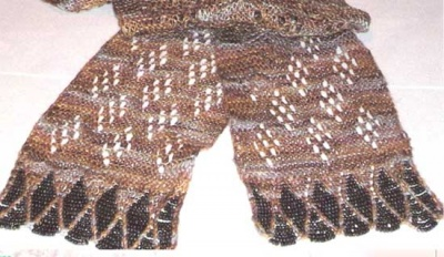 Victorian Beaded Mesh and Lace Scarf/ Pattern -