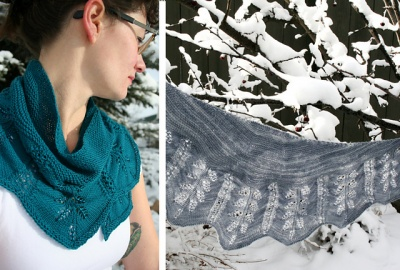 Winter Bloom Shawl/ Pattern/ Bead Gift - Shawls/Stoles