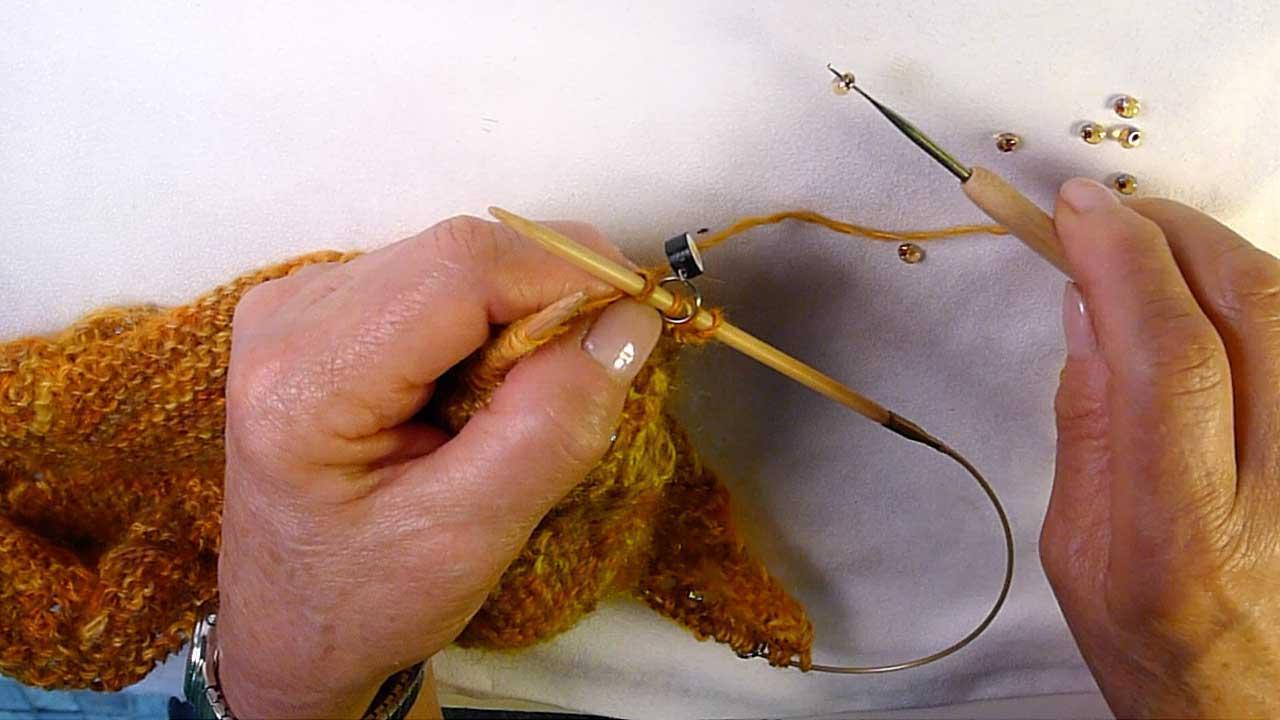 Beaded Knitting Using A Crochet Hook